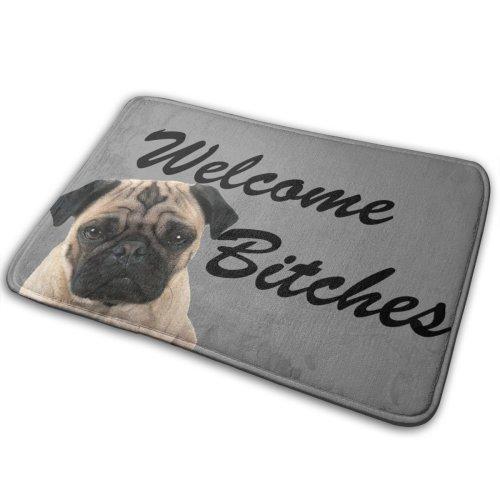 40x60cm Doormat Pug Welcome Bitches Door Mat Area Rug-Multi