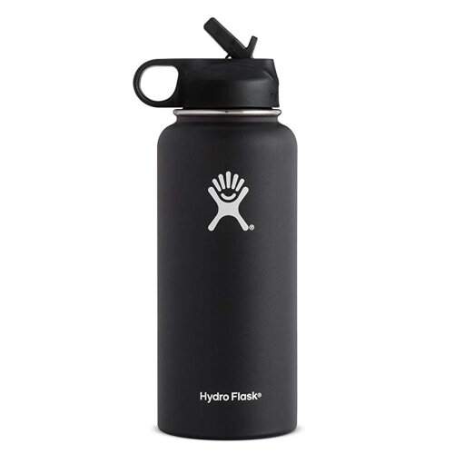 (Black, 40OZ) Hydro Flask Stainless Steel Insulated Bottle Straw Lid