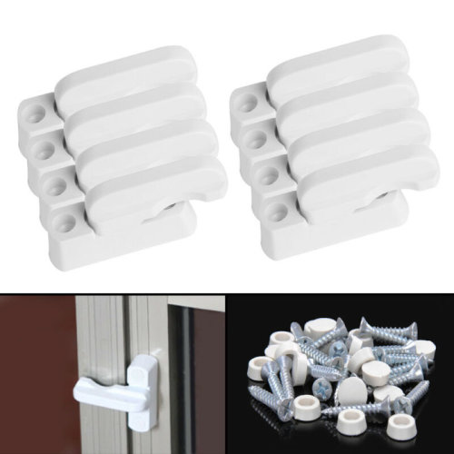 8X UPVC Window Security Locks Door Sash Jammer Safety Restrictor Latch