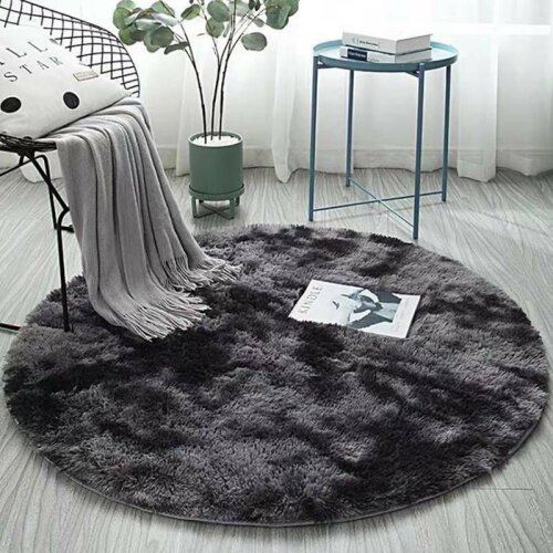 (Dark Grey, Medium) Fluffy Circular Rug | Circular Polyester Bathmat