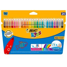 Bic Kids Kid Couleur Pack Of 24 Washable Colour Medium Felt Tip Colouring Pens
