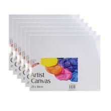Set of 6 Canvas Panels 25cm x 30cm - Blank Plain Canvas Board