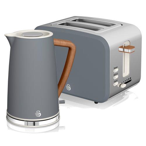 (Grey) Swan Nordic Kettle & 2 Slice Toaster Set