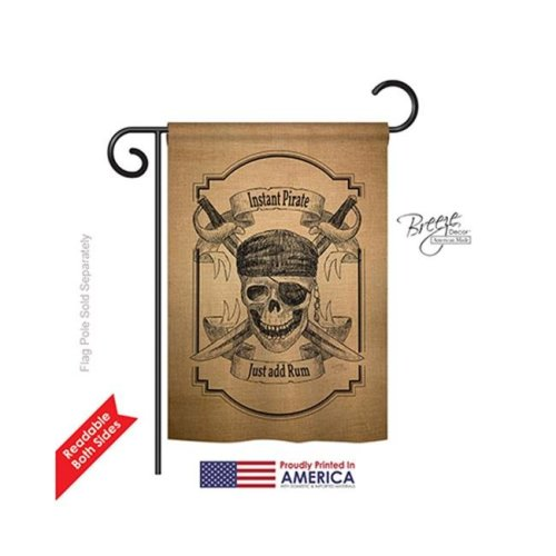 Breeze Decor 57047 Pirate Instant Pirate 2-Sided Impression Garden Flag - 13 x 18.5 in.