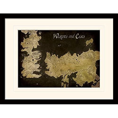 Game of Thrones (Westeros and Essos Antique Map 30x40 cm Mounted & Framed