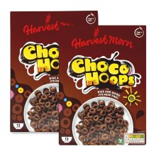 Harvest Morn Choco Hoops Cereal 375g - Pack of 2 (2 x 375g)