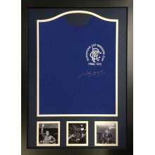 Framed John Greig signed 1972 Rangers Cup final shirt with COA & proof