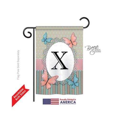 Breeze Decor 80154 Butterflies X Monogram 2-Sided Impression Garden Flag - 13 x 18.5 in.