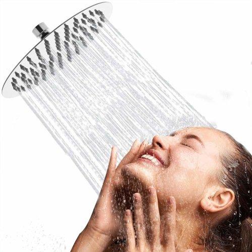 Artbath Water Saving Rainfall Shower Head Round Shower Head 304 Stainless Steel Shower Head Wall Mounted Ultra Thin 8 Inch