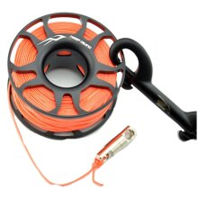 15M Scuba Diving Aluminum Alloy Spool Finger Reel with Stainless Steel Bolt Snap Hook SMB Equipment Cave Dive 15m gray