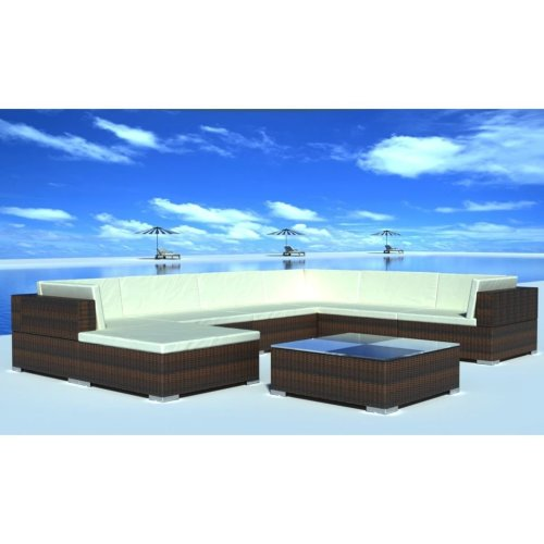 vidaXL 8 Pieces Garden Lounge Set with Cushions Poly Rattan Brown