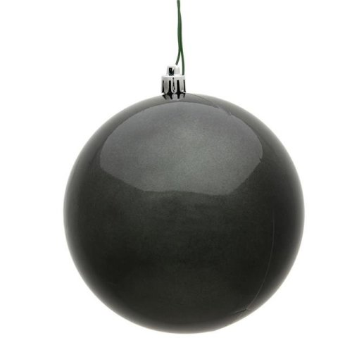 Vickerman N592587DCV 10 in. Pewter Candy UV Drilled Cap Christmas Ornament Ball