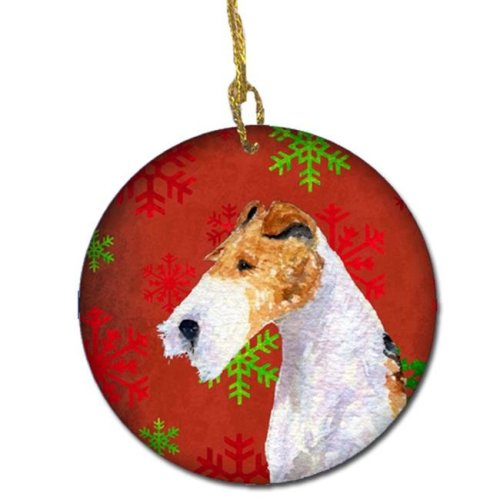 Fox Terrier Red Snowflakes Holiday Christmas Ceramic Ornament