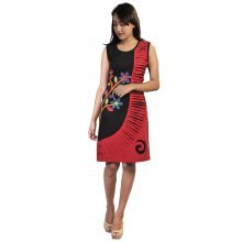Sleeveless Black and Red Dress with Colorful Flower prints and Embroidery
