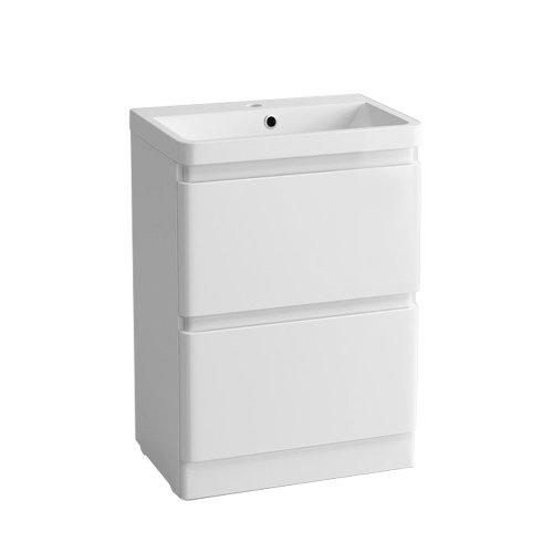 Floor Standing Drawer Vanity Unit Basin Bathroom Storage Furniture 600mm Gloss White