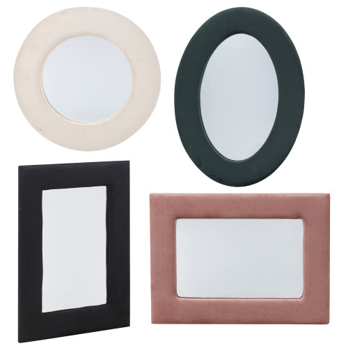 Wall Mounted Mirrors with Velvet Plush Frames