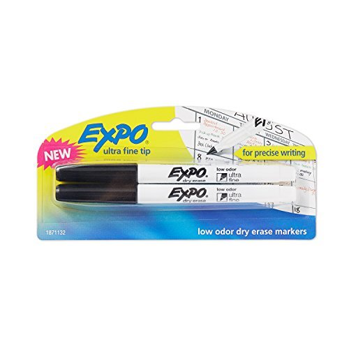 EXPO 1871132 Low-Odor Dry Erase Markers, Ultra Fine Tip, Black, 2-count