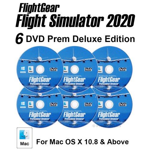 Flight Simulator 2020 X Premium DELUXE Edition Flight Sim FlightGear 6 Disc DVD CD Set For Mac OS X / 600+ Aircraft & FULL Worldwide Scenery!