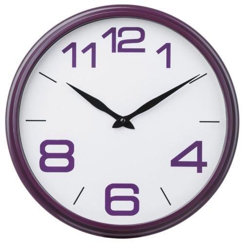 Vibrant Purple Wall Clock Large Numbers, Plastic