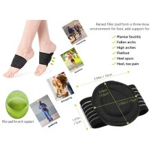 Foot Arch Pad Extra Thick Cushioned Plantar Fascists Slip On Any Shoes