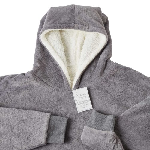 (Charcoal Grey, One Size Fits All - Adults Kids Men Women) Sienna Oversized Plush Blanket Hoodie | Blanket Jumper With Front Pocket