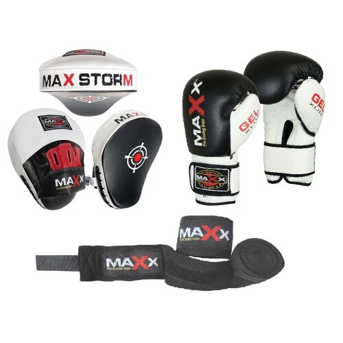 (4oz Glove) Focus pads Set  with BOXING GLOVES    CURVED Jabs