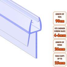 ECOSPA Bath Shower Screen Door Seal Strip 4-6mm Glass Gaps up to 25mm