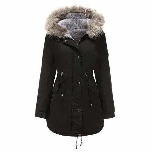 Women Fur Lined Parka Jacket Coat Lady Hooded Outwear Winter Warm Overcoat