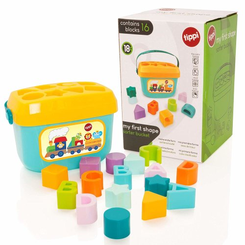 Tippi My First Blocks Shape Sorter Bucket - Baby/Toddler Toy