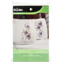 """Bucilla Stamped Embroidery Pillowcase Pair 20""""X30""""-Violet Vines"""