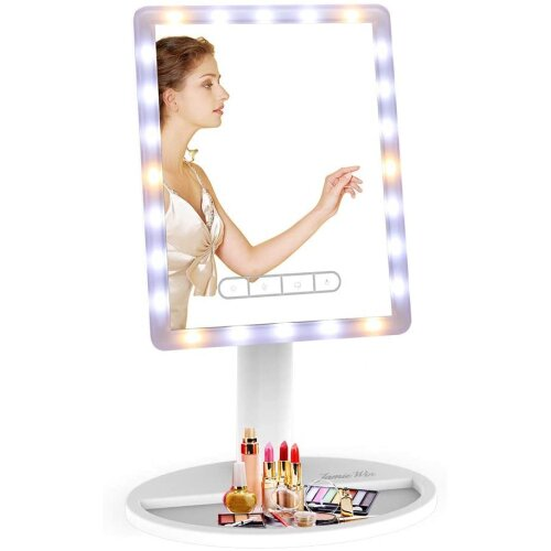 """JAMIEWIN 16"""" Large Light up Mirror Lighted Makeup Mirror with Lights LED Dimmable Height Adjustable Vanity Mirror - Square White"""
