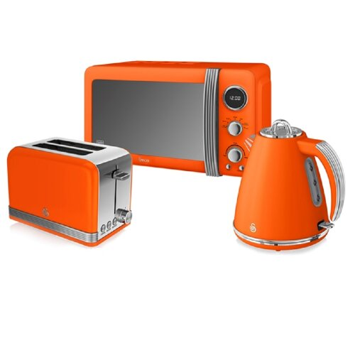 (Orange) Swan Retro Kitchen Triple Pack | Includes Toaster, Kettle & Microwave