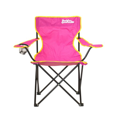 just be...® Folding Camping Chair - Dark Pink with Yellow Trim