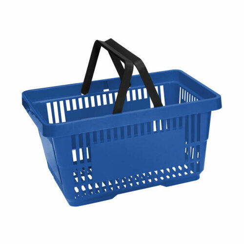 Blue Plastic Shopping Baskets With 2 Handles