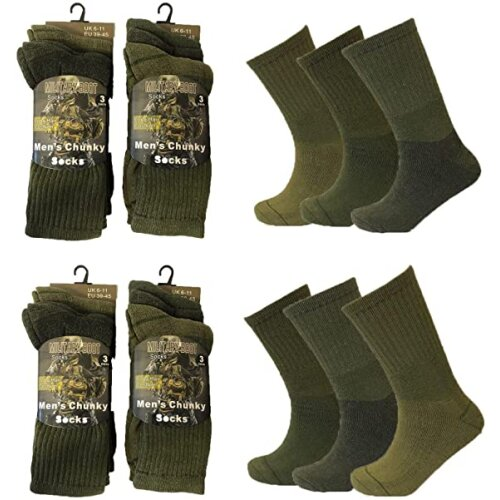 Mens 6 Pairs Army Military Patrol Combat Boot High Performance Hiking Padded Thermal Warm Thick Socks