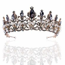 Brishow Baroque Bride Crowns and Tiaras Black Rhinestones Bridal Queen Tiara Crystal Headpieces for Women and Girls