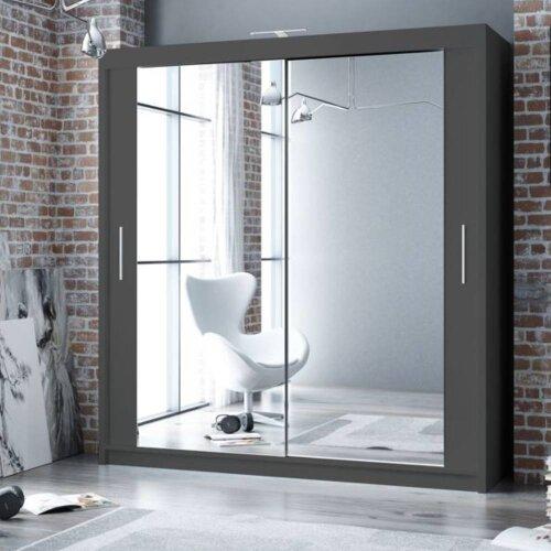 Modern Sliding Door Wardrobe with Mirror PARIS 180 Graphite