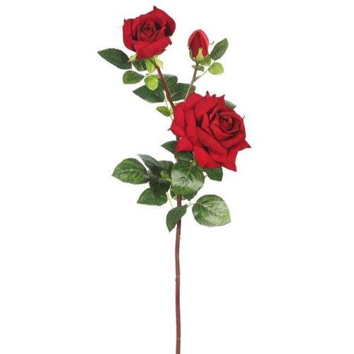 Vickerman FA174001 Large Velvet Rose X3 Floral Stem, Red - Pack of 3