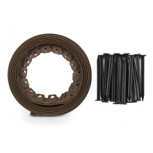 10m roll of flexible brown edging for lawns,paths anddriveways +pegs