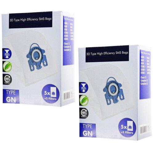 3D Type GN Hyclean Bags for Miele C1 C2 C3 S400 S600 S800 S2000 S5000 S8000 Vacuum Cleaner (10 Bags + 4 Filters)