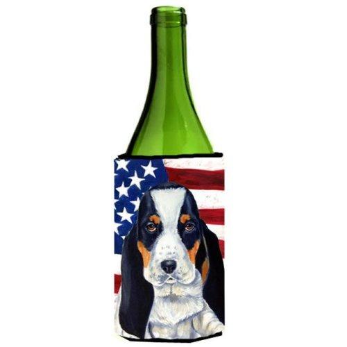 USA American Flag with Basset Hound Wine bottle sleeve Hugger 24 oz.