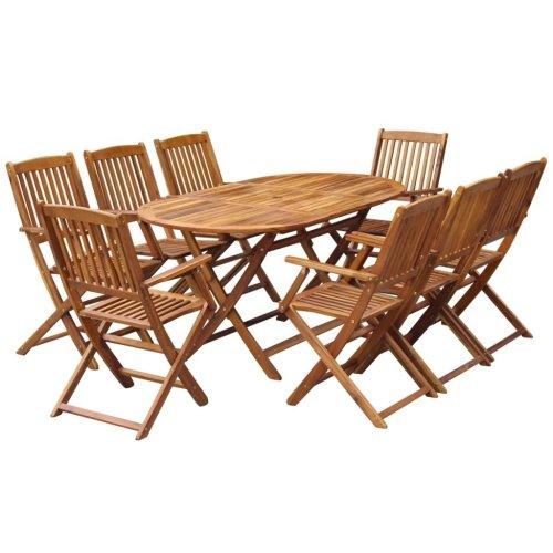 vidaXL Outdoor Dining Set 9 Pieces Solid Acacia Wood
