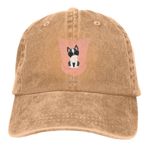 (Brown) Boston Terrier Stay Denim Baseball Caps