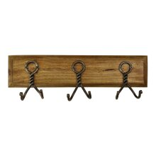 3 Piece Double Metal Hooks On Wooden Base