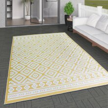 Outdoor Rug Yellow Cream Diamond Large XL Small for Garden Patios Decking Gazebo Soft Woven Geometric Mat