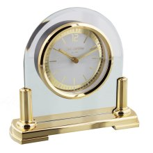 Wm.Widdop Glass Mantel Clock 2 Tone Dial Gold Stand