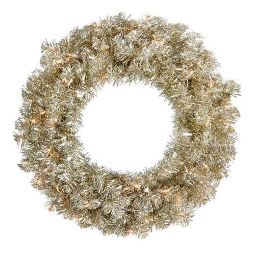 Vickerman B982531LED Champagne Mini Dura-Lit Wreath with Warm White LED Lights, 30 in.