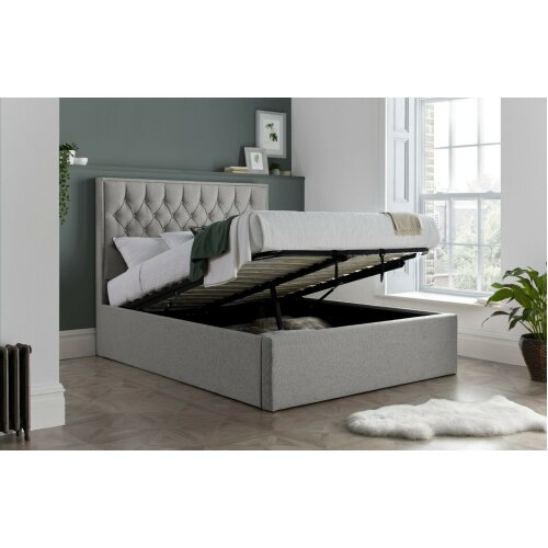 Wilford Grey Fabric Ottoman Storage Bed and Mattress