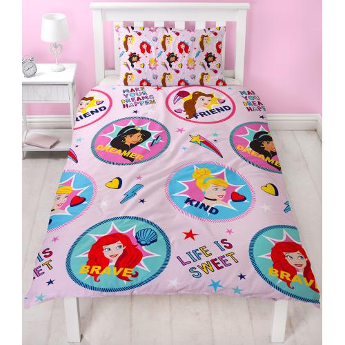 Disney Princess Fearless Reversible Duvet Quilt Cover Bedding Set Single New