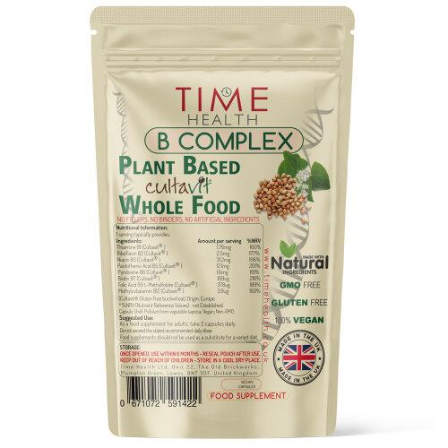 Vitamin B Complex Whole Food Plant Based Cultavit - Natural, Non-Synthetic B Vitamins - Pullulan